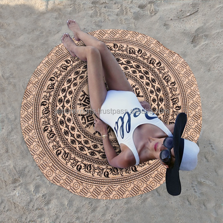 India Terry backing round Beach towel Mandala Tapestry