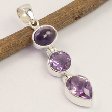 amethyst pendant Natural AMETHYST 3 Gemstone 925 Sterling Silver Jewelry chandeliers pendant