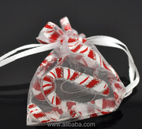 White Christmas Candy Cane Organza Wedding Gift Bags &Pouches W/Draw String 7x9cm, sold per packet of 100
