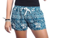 Green Boho Elephant Summer Cotton Shorts Colorful Thailand