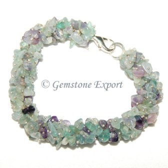 Multi Flourite Chips Stone Bracelet Wholesale Gemstone Bracelets
