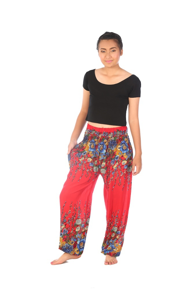 Red Flowers design Yoga pants loose fit Smocked Waist Comfy Bohemian Thai Pants summer festival pants