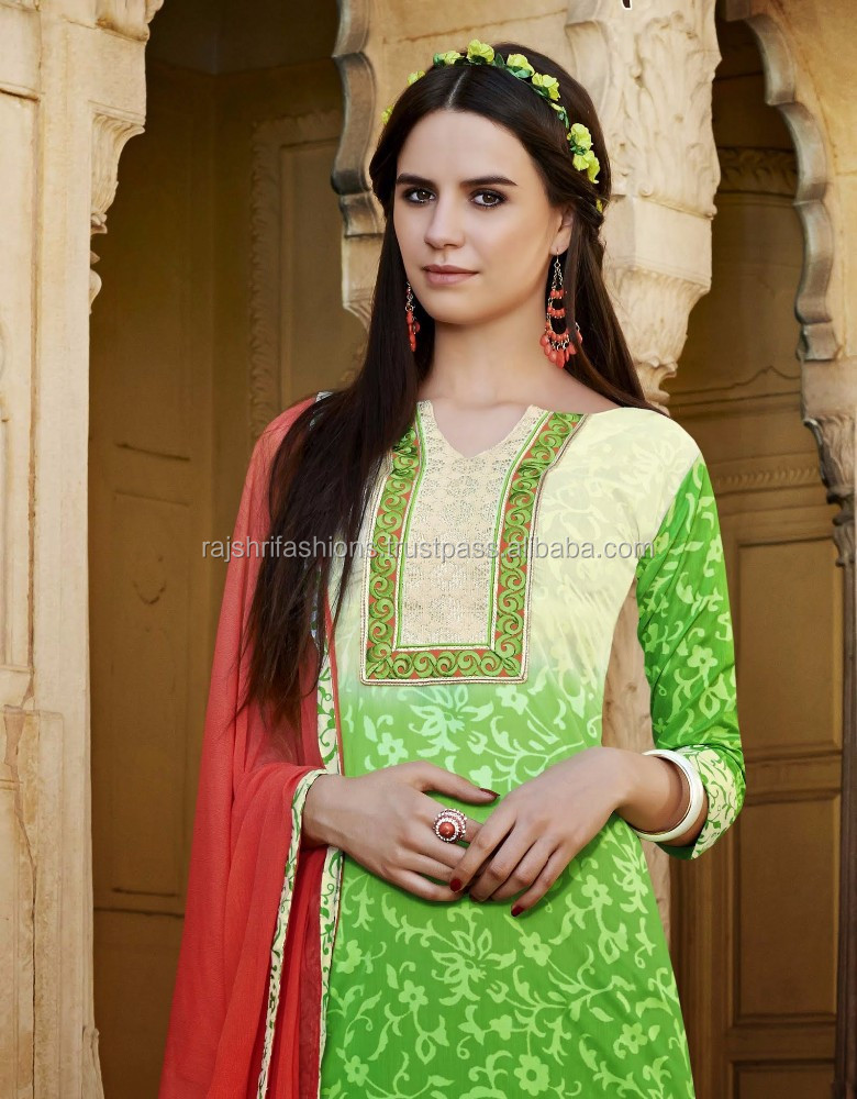 Green Shaded Color With Green Color embroidery Border design at neck & Bottom Pretty Designer Semi Stitch Salwar Kameez