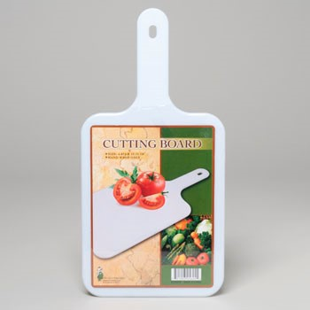 CUTTING BOARD 6.75X13.75IN WHITE PS PLASTIC SHRINK W/INSERT #G25625