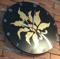 wall Clock Thai wooden painting decorative antique design handmade.