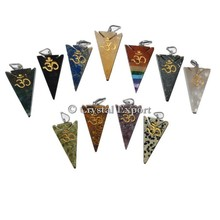 Mix Gemstone Arrowheads Om Pendants : Wholesale Engraved Pendant