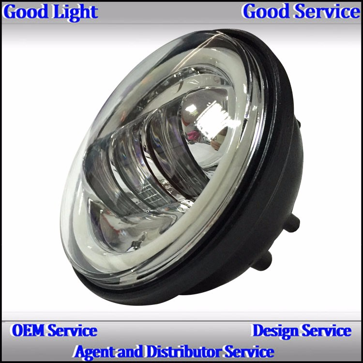 DC 12v 30Watt 7000k 4.5'' angel eyes led motorcycle h-arley d-avision fog light with silver/black background