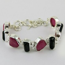 Exclusive Fancy Shape Ruby_Black Tourmaline 925 Sterling Silver Bracelet, Silver Jewelry Exporter, Unique Silver Jewelry