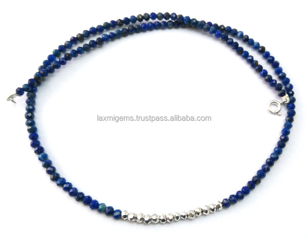 Natural lapis & Silver Coated Pyrite Beads Necklaces , 925 Silver Natural Lapis Necklaces, Indian Handmade Necklaces Jewelry