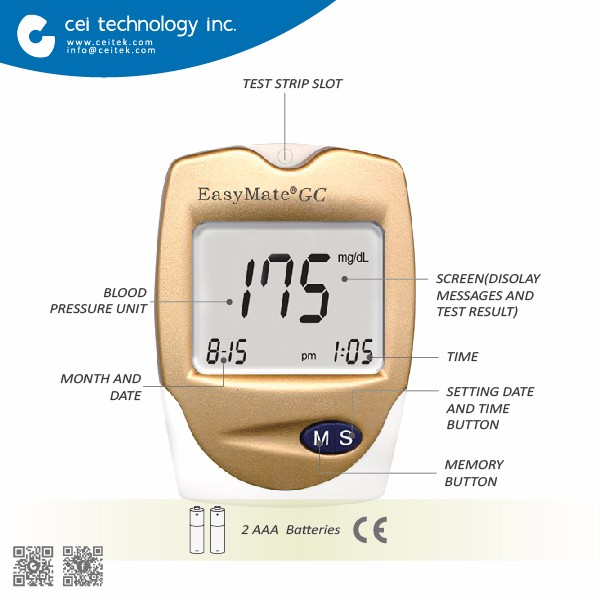 Hot sell CE approved Blood Glucose with Cholesterol test meter