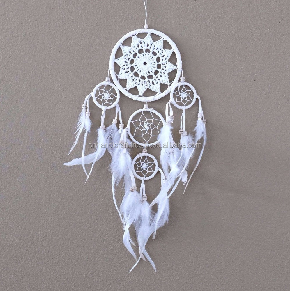 Dream Catcher Crochet Handmade Wall Hanging Decoration Ornament Feathers 18 ""