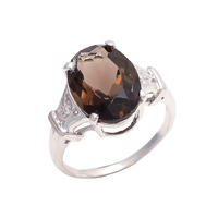 Fashionable Silver Customized Ladies New Design Natural Smoky Gemstone Ring