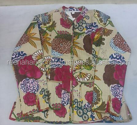 Winter Warm Cotton Quilted Jacket Hand Block Print Women Coat Reversible Blazer