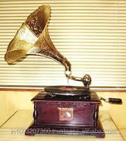 Replica RCA Victor Gramophone Record Player with Square Base and Nickel Horn