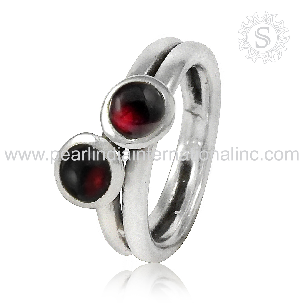 Brighten 925 Sterling Silver Jewelry Garnet Ring Wholesaler Silver Jewellery Indian Exporter