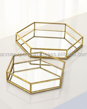 Hexagon Stainless Steel Mirror Tray | Set of 2 pieces with High Quality Serving tray in India