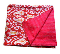New Brand Cotton Ikat Print Kantha Quilt For Sale !