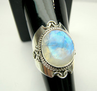 Rainbow Moonstone Facet Oxidized Designer Sterling Silver Ring, Blue Fire Rainbow Moonstone Jewelry, Antique Designer Jewellery