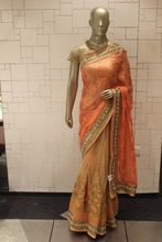 Zari work half half saree on Brasso and net fabric