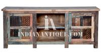 INDIAN RECYCLED WOOD CARVED MEDIA CABINET FURNITURE FROM INDIANA RWC-020