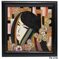 Beautiful Lady Lacquer Paintings, handmade art picture by lacquer