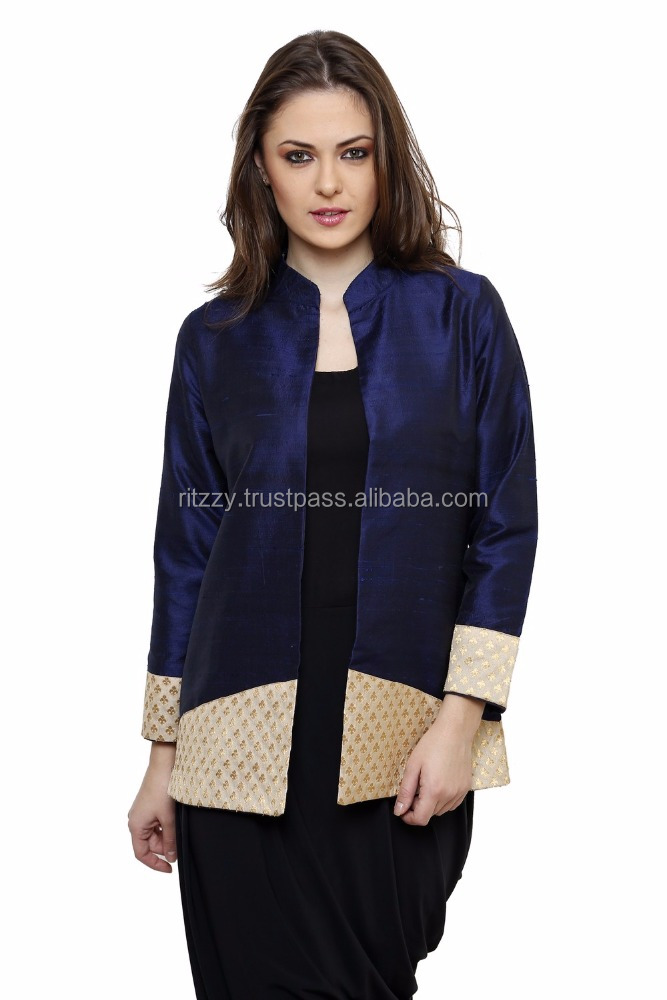 Wholesale Indian Designer Navy Blue Poly Raw Silk Solid Full Sleeves Jacket For Ladies