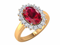2016 Hot Sale Attractive Hallmarked Diamond Ruby Oval 12x8 mm Women Ring
