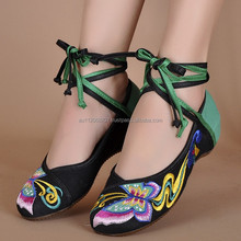 Fashion Chinese Vintage Old Peking Cloth Shoes Ladies Lace-Up Swallowtail Butterfly Embroidery Comfortable Casual Dancing Shoes