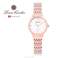 Louis Cardin Slim Watch Stainless Steel Sapphire Crystal Swiss Made LC002 LADY
