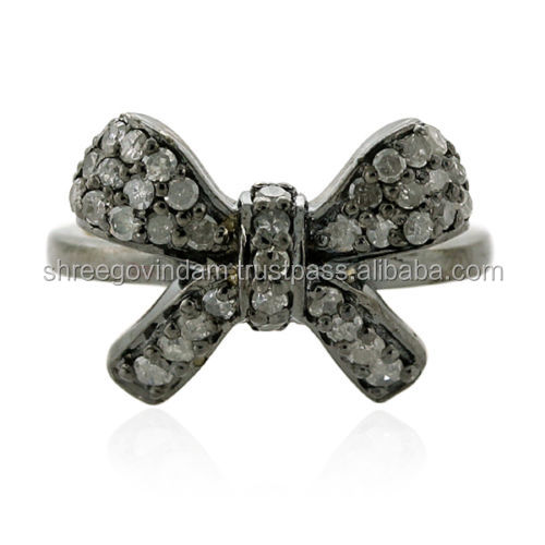 0.49ct Pave Diamond Bow Midi Ring 18k Gold 925 Sterling Silver Fashion Jewelry