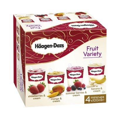 Haagen-Dazs Fruit Variety Ice Cream 4x100ml FMCG