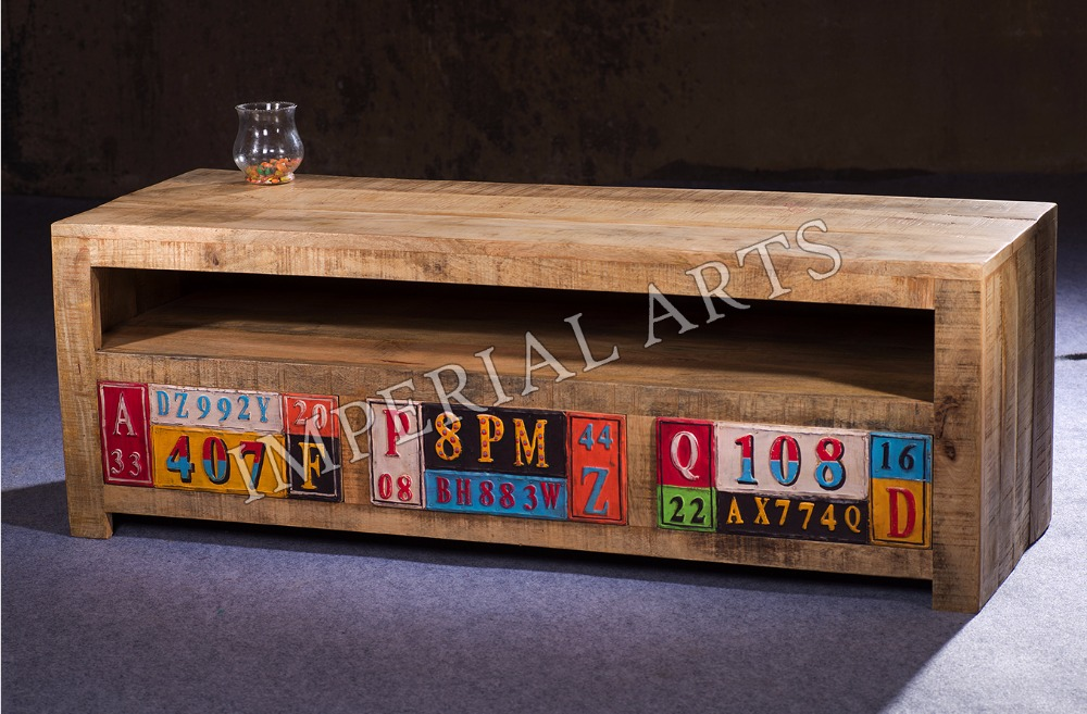 Indian Mango Wood TV Cabinet with 3 Drawers