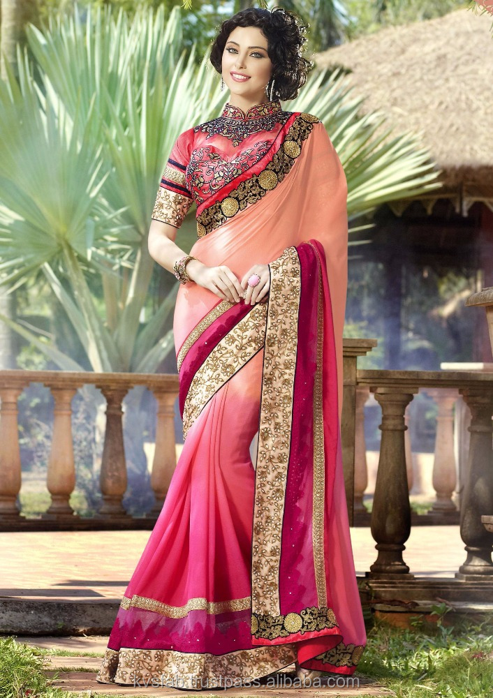Pink & Peach Georgette Embroidery Work Saree