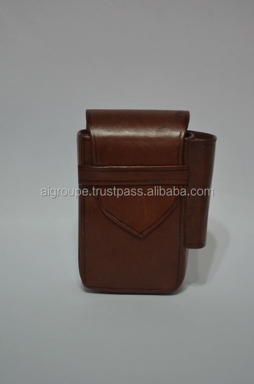 Leather cigarette pack holder, Nice design cigarette case, Calf leather .