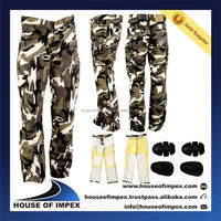 Camoflauge Trousers, Cargo Style Camo Kevlar Pant, Inner Kevlar Lining for Rider's Safety