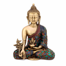 Medicine Buddha Statue Buddhism Tibetan Brass Shakyamuni Showpiece Sating Buddha Statue Blessing Buddhism Art Ethnic Decorative