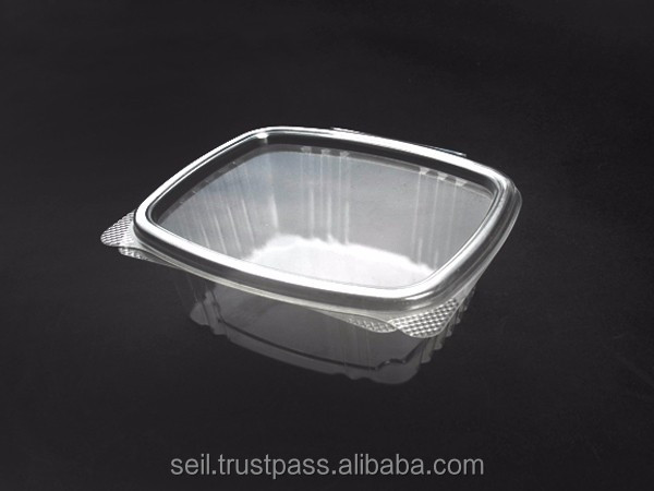 Hinged / Clamshell lid container, PET disposable food container , Clear takeaway togo box