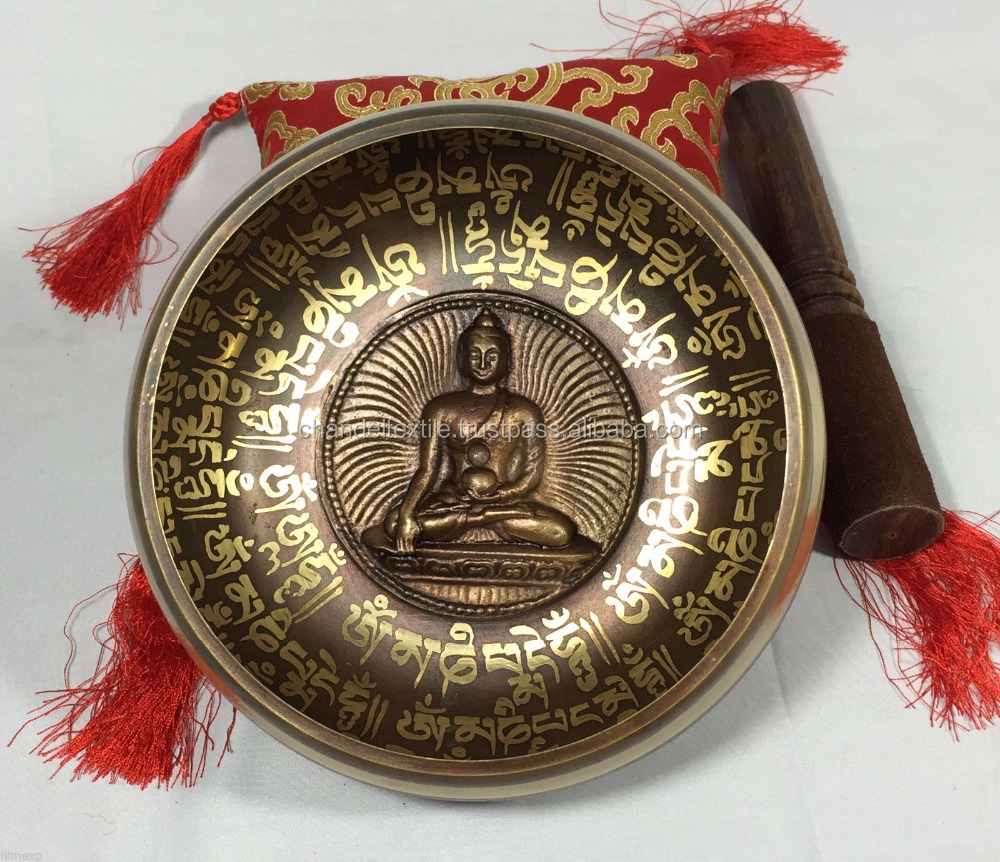Buddha Tibetan Singing Bowl Set For Yoga Meditation & Heart Chakra Healing Brass Buddhist Meditation Healing Singing Bowl