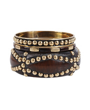wooden bangle with golden dotted design with antique brass Bangle set Bracelet