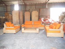 Living Room Furniture - Antique wooden living sofa home furniture (water hyacinth hand-made woven and acasia wooden frame)