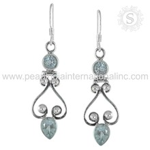 famous Design Blue Topaz Gemstone Earring Indian Silver Jewelry 925 Silver Jewellery Wholesale