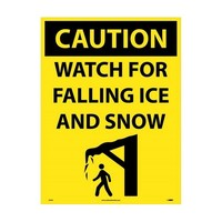"NMC C749E, 24""x18"" 4mm Corrugated Plastic ""Caution Watch For Falling Ice"" Sign"