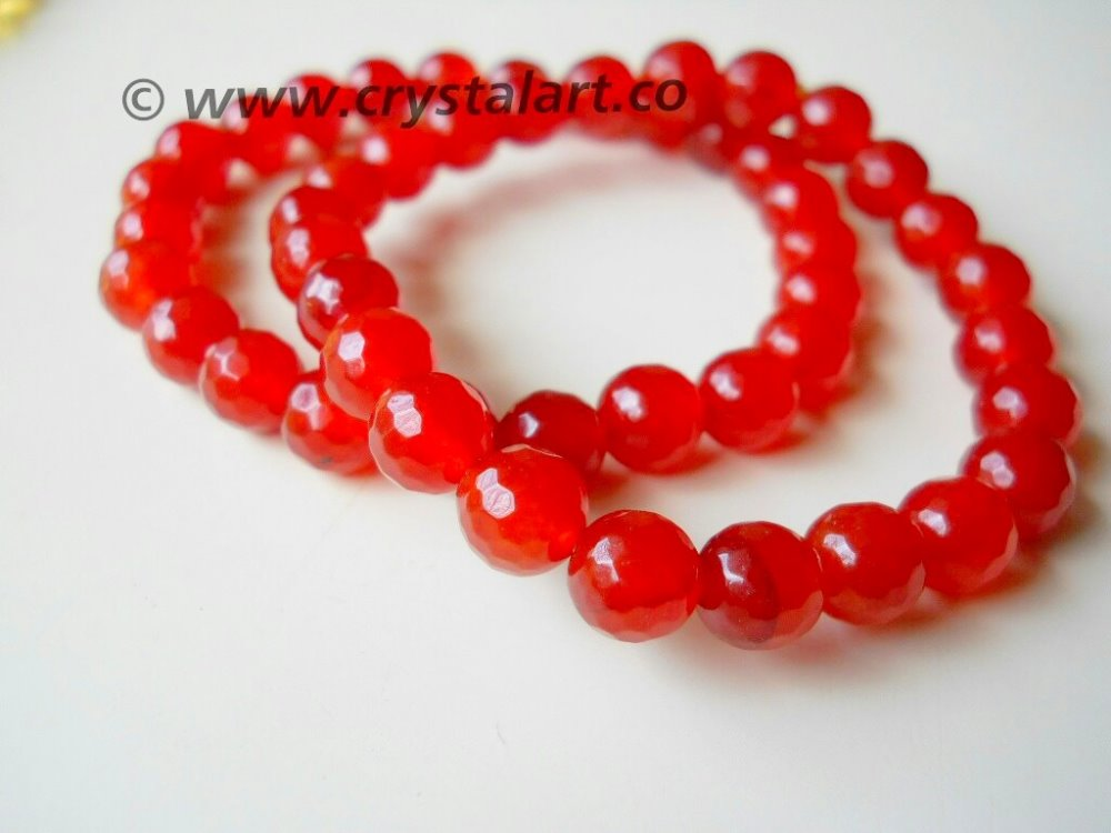 Red Carnelian Faceted Beads Bracelets Gemstone Agate Breads Natural stones