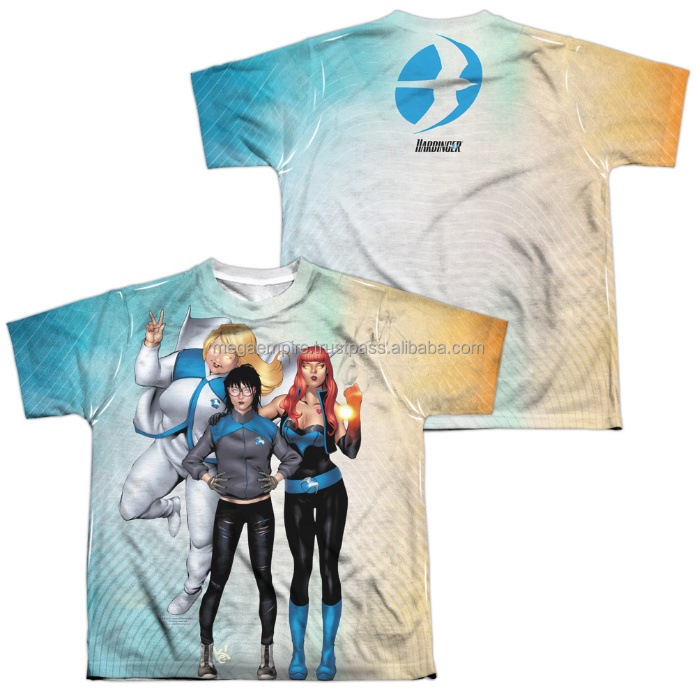 kids super hero cartoon O neck Sublimation T shirt/ all over sublimation printing t-shirt at MEGA EMPIRE
