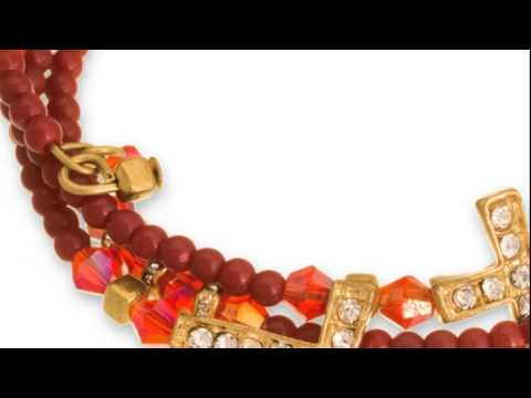 Red Beaded And Crystal Sideways Cross Stretch Bracelet Bundle - SuperJeweler.com