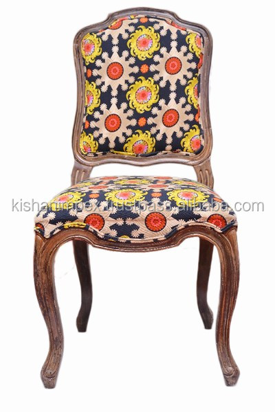 Classic Vintage Indian Dinning Room Flower Chair Antique Handmade Solid Wooden Kantha Work Upholstered Chair