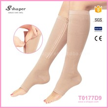 For Varicose Veins Open Toe Beige And Black Nylon Tube Stocking