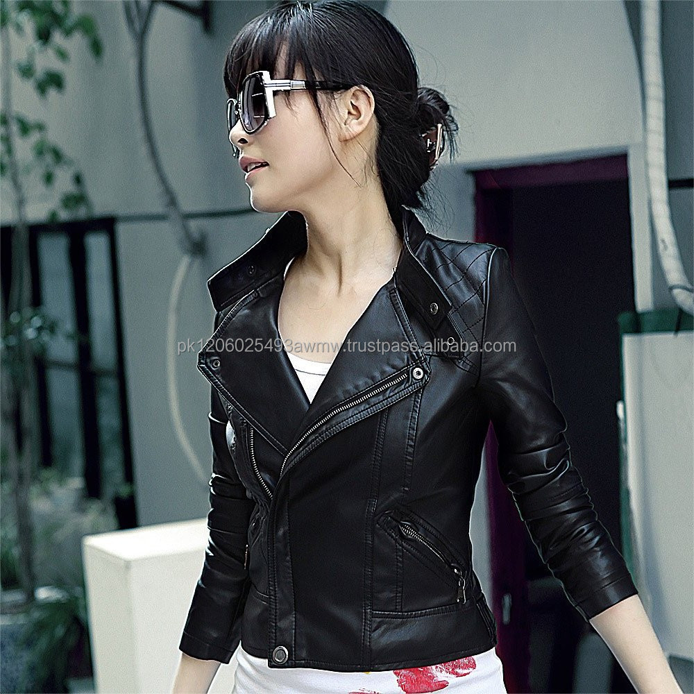 Womens leather coat short design small leather clothing outerwear jacket motorcycle /Korean style leather jacket