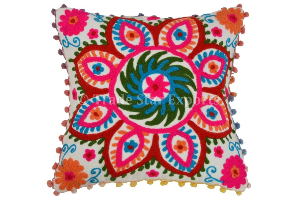 Indian Suzani Cushion Cover Cotton Pillow Cases 16x16 Pom Pom Throw Pillow Shams