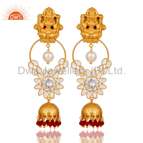 Gold Plated 925 Sterling Silver Fashion Polki Earrings CZ And Coral Gemstone Traditional Temple Jewelry
